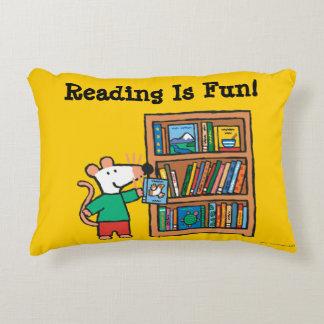 Maisy and a Bookshelf of Books Decorative Cushion