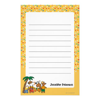 Maisy and Cyril with Palm Tree at the Beach Customised Stationery