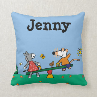 Maisy and Dotty Seesaw at the Playground Throw Pillow