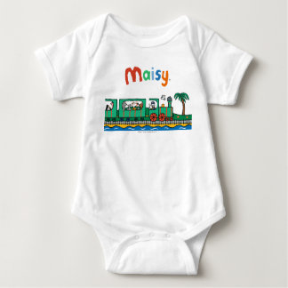 Maisy and Friends Ride on Green Train Baby Bodysuit
