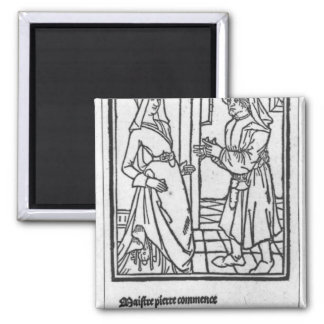 Maitre Pathelin and Guillemette Square Magnet