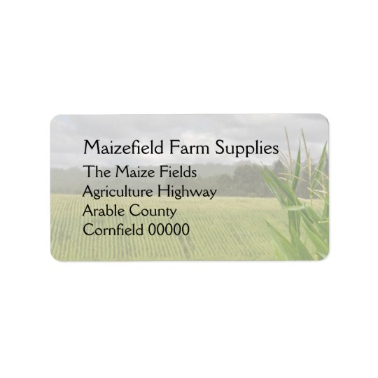 Maize crop in the field address label