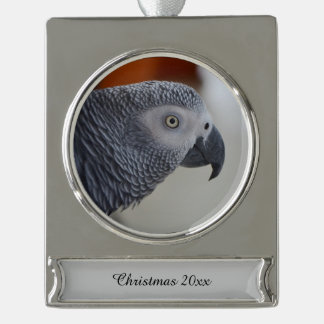 Majestic African Grey Parrot Silver Plated Banner Ornament