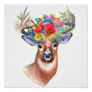 Majestic Bohemian Wildflower Deer Poster