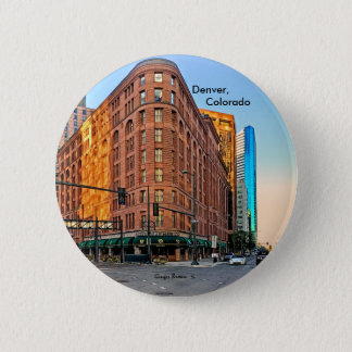 Majestic Brown Palace Hotel At Sunset, Denver, CO 6 Cm Round Badge