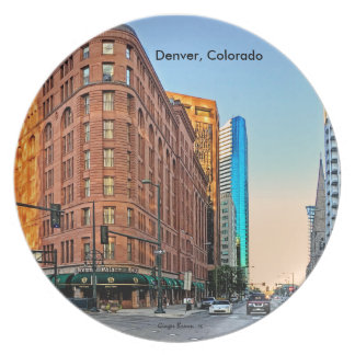 Majestic Brown Palace Hotel At Sunset, Denver, CO Dinner Plates