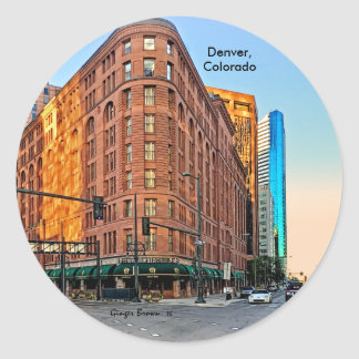 Majestic Brown Palace Hotel At Sunset, Denver, CO Round Sticker