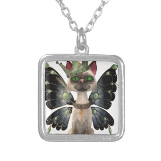 Majestic cat silver plated necklace