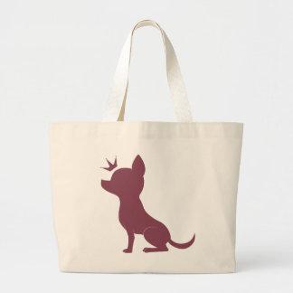 Majestic Chihuahua on Pink Leopard Print Jumbo Tote Bag