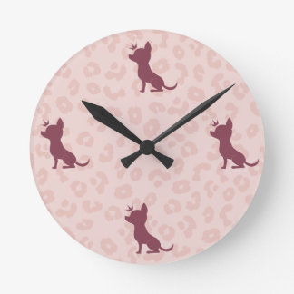 Majestic Chihuahua on Pink Leopard Print Round Clock