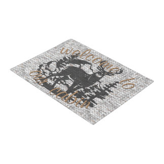 Majestic Deer Silhouette Faux Woven Yarn Pattern Doormat