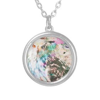 Majestic Eagle Owl Digital Watercolor Silver Plated Necklace