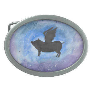 Majestic Flying Pig Belt Buckle