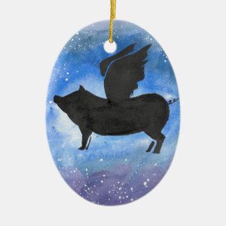 Majestic Flying Pig Ceramic Oval Decoration