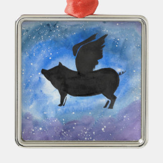 Majestic Flying Pig Metal Ornament