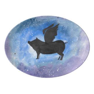 Majestic Flying Pig Serving Platter Porcelain Serving Platter