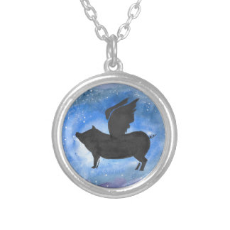 Majestic Flying Pig Silver Plated Necklace
