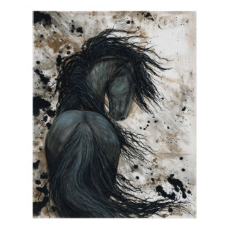 Majestic Friesian Black Stallion Horse by BiHrLe Poster