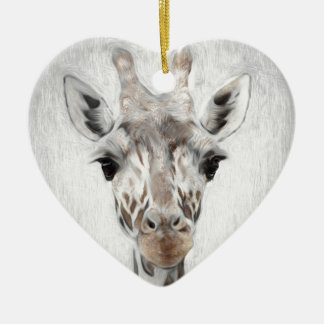 Majestic Giraffe Portrayed multiproduct selected Ceramic Heart Decoration