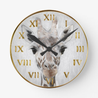 Majestic Giraffe Portrayed multiproduct selected Round Clock