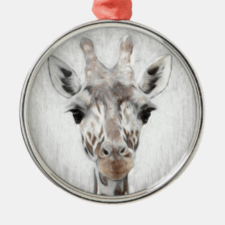 Majestic Giraffe Portrayed multiproduct selected Silver-Colored Round Decoration