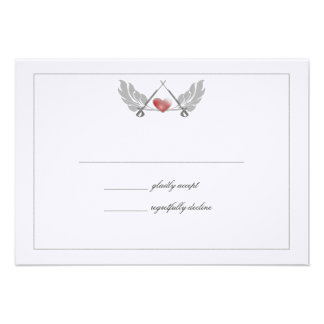Majestic Guarded Heart Wedding Response Card Custom Announcement