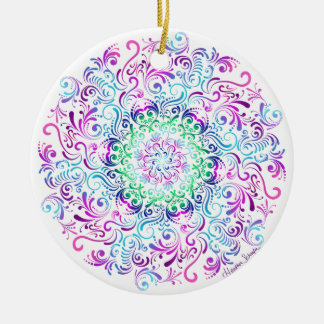 Majestic Kaleidoscope Mandala on White Ceramic Ornament