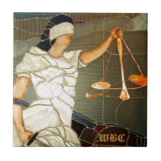Majestic Lady Justice in Stained Glass Design Ceramic Tile