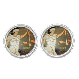 Majestic Lady Justice in Stained Glass Design Cufflinks