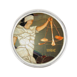 Majestic Lady Justice in Stained Glass Design Lapel Pin