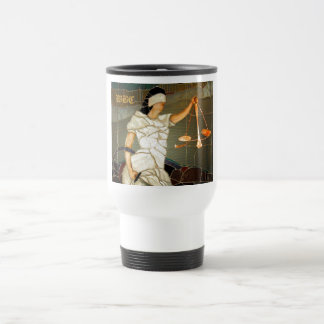 Majestic Lady Justice in Stained Glass Design Mug