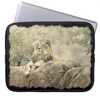 Majestic Lion sitting on a Cliff Sleeve