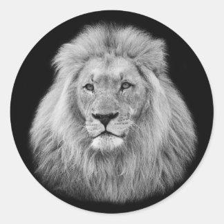 Majestic male lion black and white photo classic round sticker