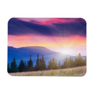 Majestic mountains landscape under morning sky rectangular photo magnet