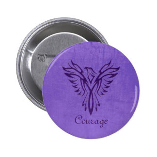 Majestic Purple Phoenix Rising, leather texture 6 Cm Round Badge