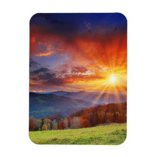 Majestic sunrise in the mountains landscape magnet