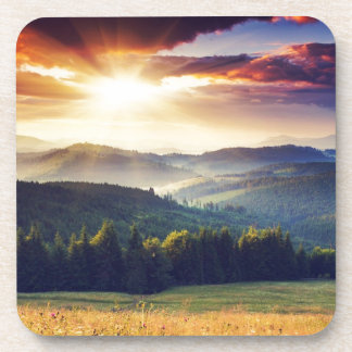 Majestic sunset in the mountains landscape 4 coaster