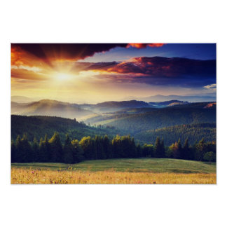Majestic sunset in the mountains landscape 4 poster