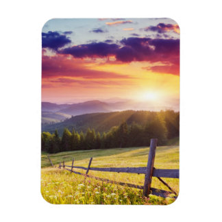 Majestic sunset in the mountains rectangular photo magnet