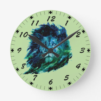 Majestic Watercolor Lion In The Night Sky Round Clock