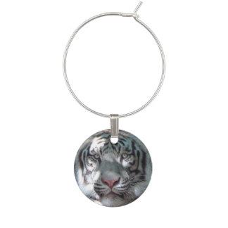 Majestic White Tiger CloseUp Wine Glass Charms