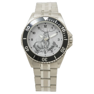 Majestic Whitetail Deer Illustration Wrist Watches