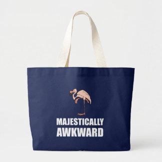Majestically Awkward Flamingo Large Tote Bag