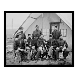 Major H.W. Sawyer and Staff at Camp Stoneman 1865 Poster