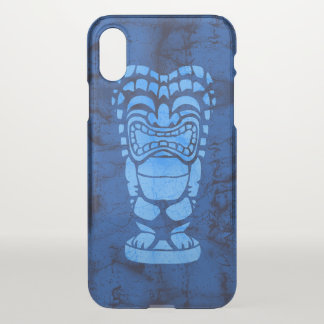 Makapuu Beach Hawaiian Laughing Tiki Batik Blue iPhone X Case