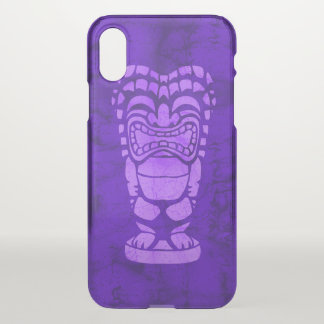 Makapuu Beach Hawaiian Laughing Tiki Batik Purple iPhone X Case