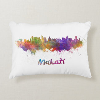 Makati skyline in watercolor decorative cushion