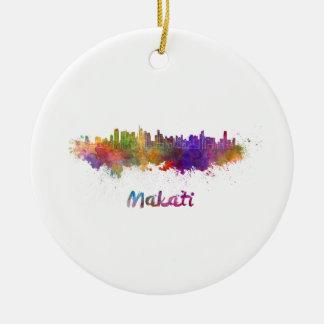 Makati skyline in watercolor round ceramic decoration