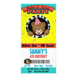 Make a Bear Party Invitation Photo Cards