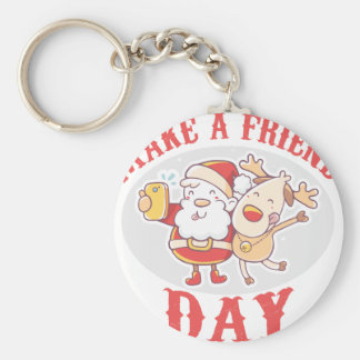 Make a Friend Day - Appreciation Day Basic Round Button Key Ring